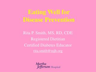 Eating Well for  Disease Prevention