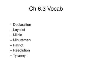 Ch 6.3 Vocab
