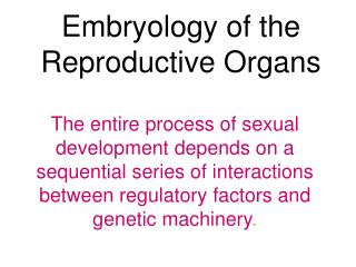 Embryology of the Reproductive Organs