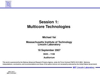 Session 1: Multicore Technologies