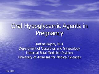Oral Hypoglycemic Agents in Pregnancy