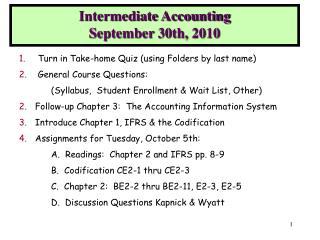 Intermediate Accounting September 30th, 2010