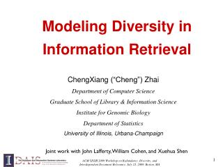 Modeling Diversity in   Information Retrieval