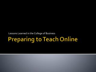 Preparing to Teach Online