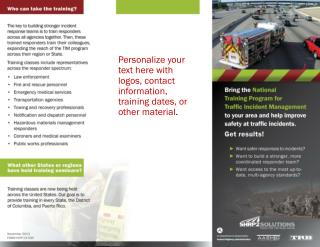 Personalize your text here with logos, contact information, training dates, or other material .