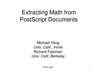 Extracting Math from PostScript Documents