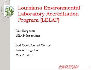 Louisiana Environmental Laboratory Accreditation Program (LELAP)