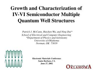 Growth and Characterization of IV-VI Semiconductor Multiple Quantum Well Structures
