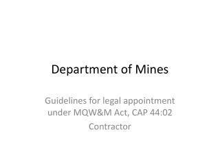 Department of Mines