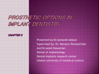 Prosthetic Options in Implant Dentistry chapter 5