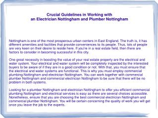 Some Things to Consider in Getting Plumber Nottingham