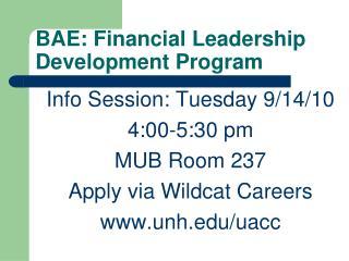 BAE: Financial Leadership Development Program