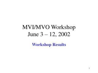 MVI/MVO Workshop June 3 – 12, 2002