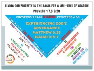 Giving God Priority Joshua 9:1-27