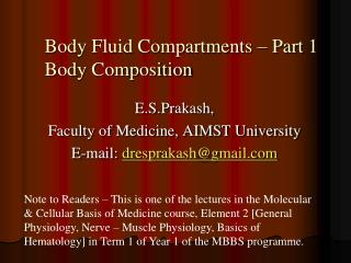 Body Fluid Compartments   Part 1 Body Composition