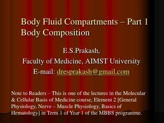 Body Fluid Compartments   Part 1 Body Composition