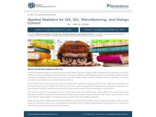 Applied Statistics for QA, QC, Manufacturing