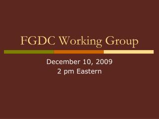 FGDC Working Group