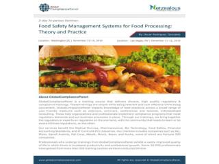 Food safety management systems for food processing