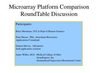 Microarray Platform Comparison RoundTable Discussion