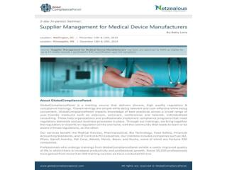 Supplier Management for Medical Device Manufacturers