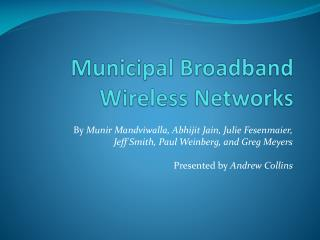 Municipal Broadband Wireless Networks