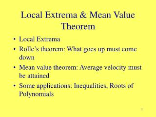 Local Extrema & Mean Value Theorem