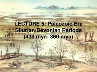 LECTURE 5: Paleozoic Era Silurian/Devonian Periods (439 mya- 360 mya)