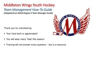 Middleton Wings Youth Hockey Team Management How-To Guide
