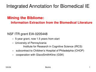 Integrated Annotation for Biomedical IE