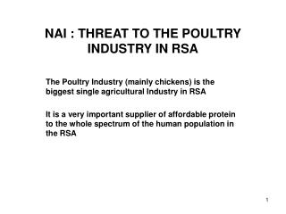 NAI : THREAT TO THE POULTRY INDUSTRY IN RSA