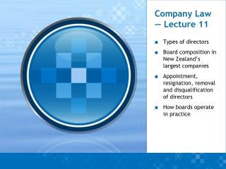 Company Law — Lecture 11