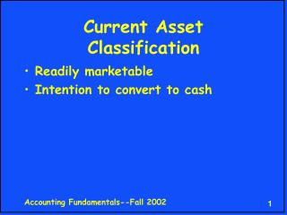 Current Asset Classification