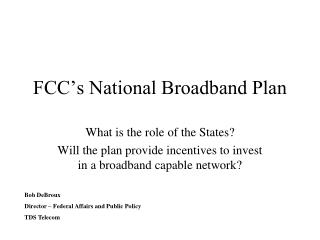 FCC�s National Broadband Plan