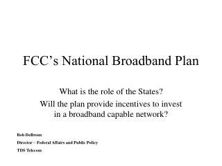FCC's National Broadband Plan