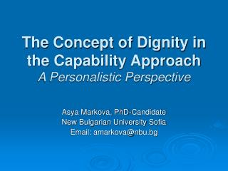 The Concept of Dignity in the Capability Approach A Personalistic Perspective