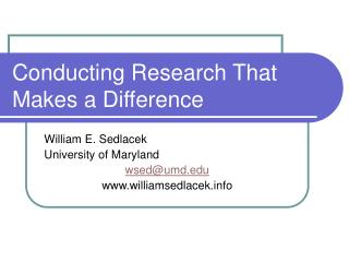 Conducting Research That Makes a Difference