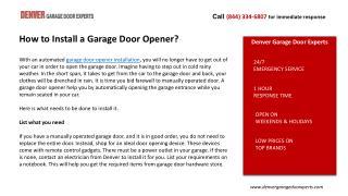 Denver Garage Door Experts