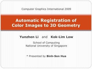 Automatic  Registration  of  Color Images to 3D Geometry