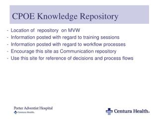 CPOE Knowledge Repository