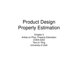 Product Design Property Estimation