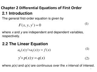 Chapter 2  Differential  Equations of First Order
