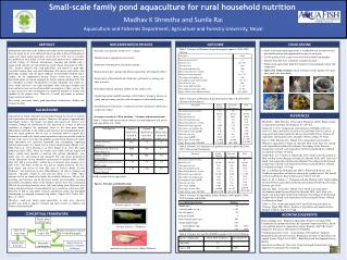 Small-scale family pond aquaculture for rural household nutrition