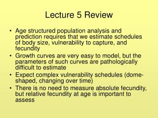 Lecture 5 Review