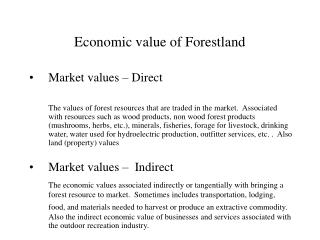 Economic value of Forestland