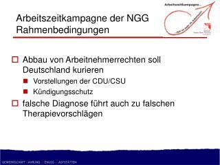 Arbeitszeitkampagne der NGG Rahmenbedingungen