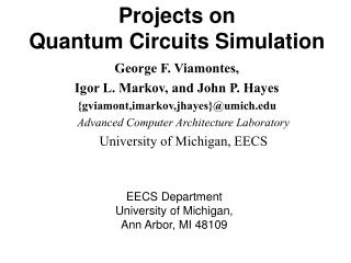 Projects on  Quantum Circuits Simulation
