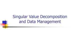 Singular Value Decomposition and Data Management
