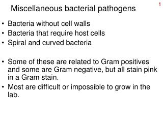 Miscellaneous bacterial pathogens