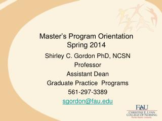 Master's Program Orientation Spring 2014